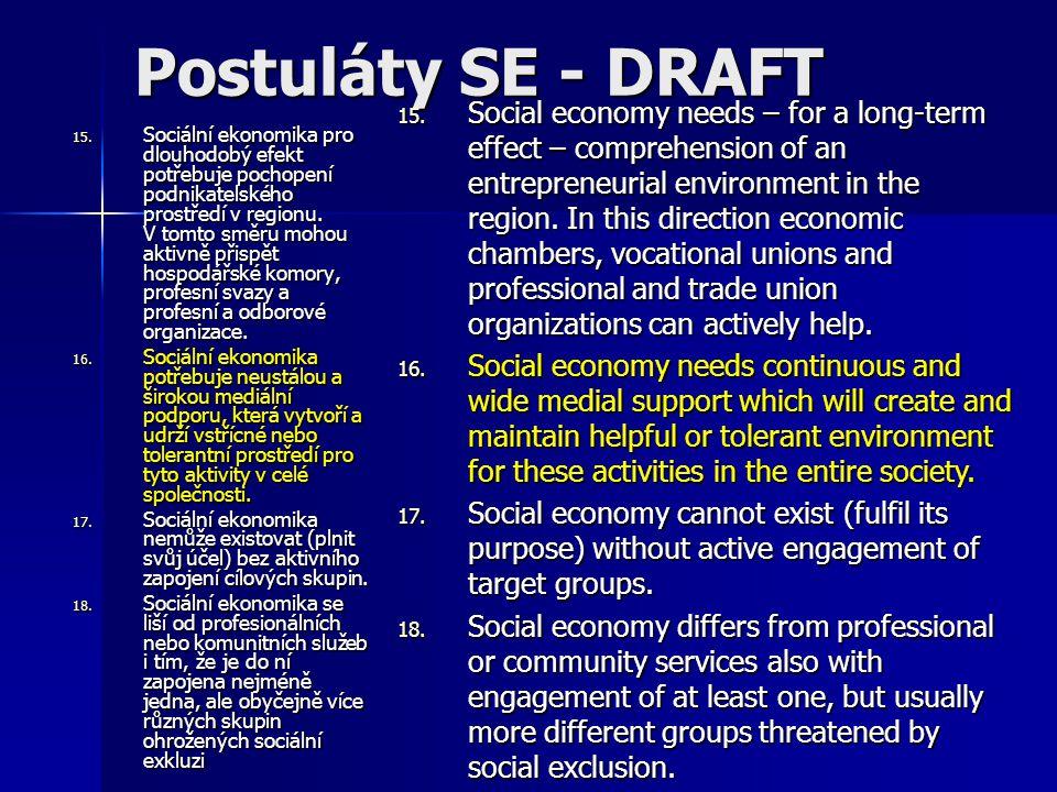 15. Sociální ekonomika pro dlouhodobý efekt potřebuje pochopení podnikatelského prostředí v regionu. V tomto směru mohou aktivně přispět hospodářské k