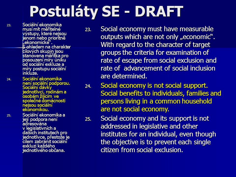 """23. Sociální ekonomika musí mít měřitelné výstupy, které nejsou jenom nebo prioritně """"ekonomické ."""