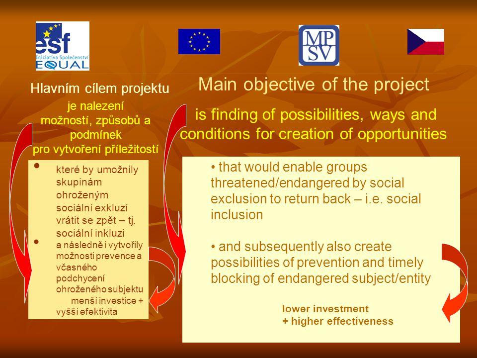 Hlavním cílem projektu je nalezení možností, způsobů a podmínek pro vytvoření příležitostí které by umožnily skupinám ohroženým sociální exkluzí vrátit se zpět – tj.