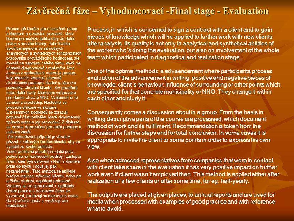 Závěrečná fáze – Vyhodnocovací -Final stage - Evaluation Proces, při kterém jde o uzavření práce s klientem a o získání poznatků, které budou po analýze aplikovány do další práce s novými klienty.