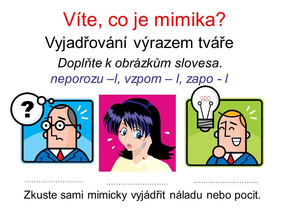 Víte, co je mimika? Vyjadřování výrazem tváře Doplňte k obrázkům slovesa. neporozu –l, vzpom – l, zapo - l.…………………... …………………….. ……………………… Zkuste sami