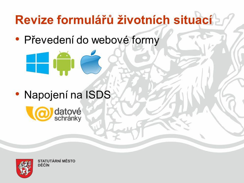 Revize formulářů životních situací Převedení do webové formy Napojení na ISDS