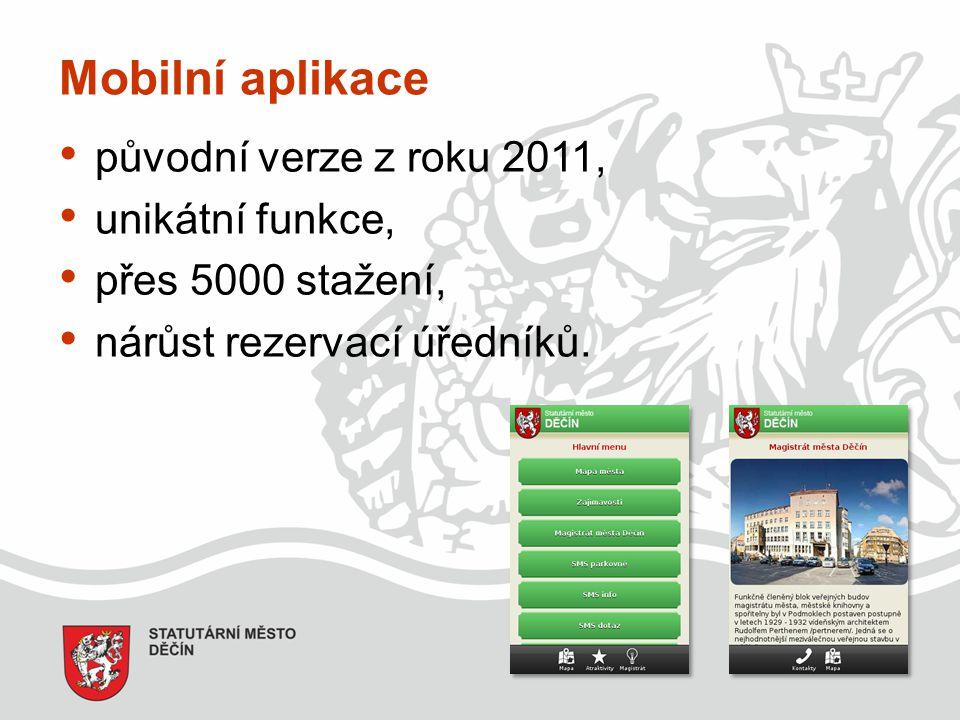 Mobilní aplikace původní verze z roku 2011, unikátní funkce, přes 5000 stažení, nárůst rezervací úředníků.