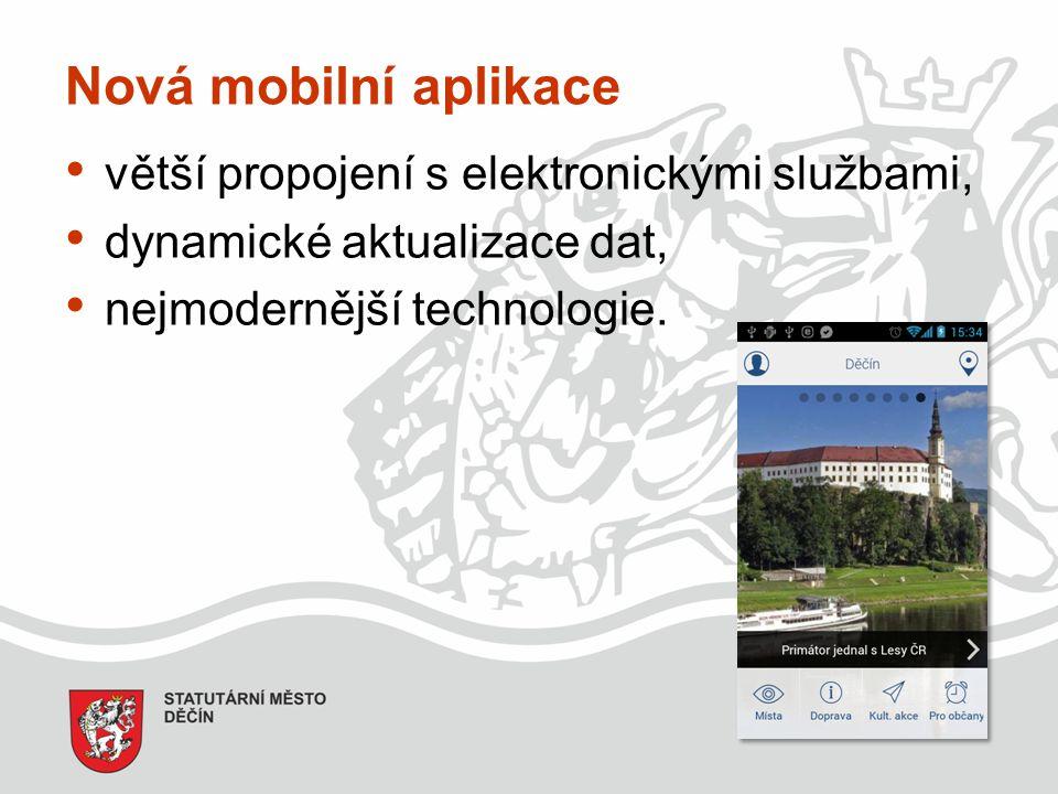 Nová mobilní aplikace větší propojení s elektronickými službami, dynamické aktualizace dat, nejmodernější technologie.