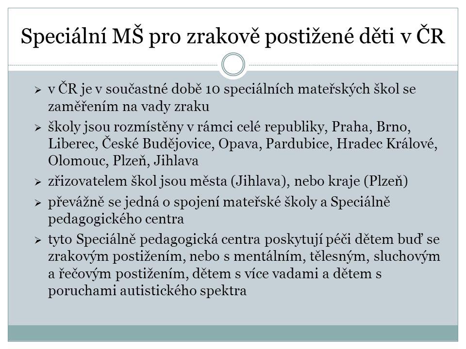 Speciální MŠ pro zrakově postižené děti v ČR  v ČR je v součastné době 10 speciálních mateřských škol se zaměřením na vady zraku  školy jsou rozmíst