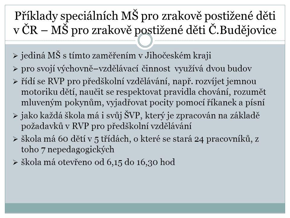 Příklady speciálních MŠ pro zrakově postižené děti v ČR – MŠ pro zrakově postižené děti Č.Budějovice  jediná MŠ s tímto zaměřením v Jihočeském kraji