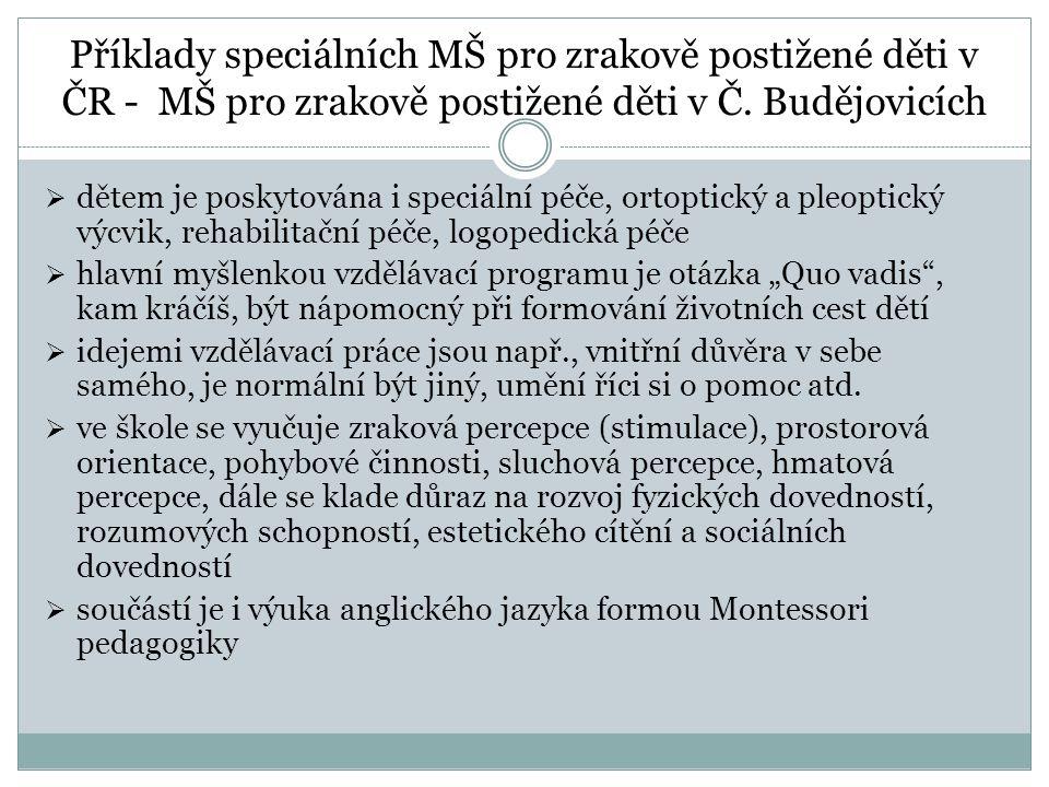 Příklady speciálních MŠ pro zrakově postižené děti v ČR - MŠ pro zrakově postižené děti v Č. Budějovicích  dětem je poskytována i speciální péče, ort