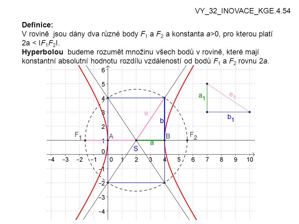 3 Definice: V rovině jsou dány dva různé body F 1 a F 2 a konstanta a>0, pro kterou platí 2a < IF 1 F 2 I.