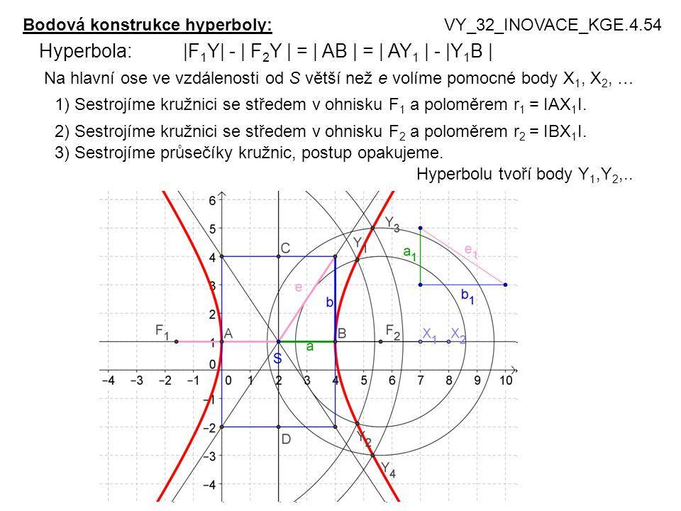 Bodová konstrukce hyperboly:VY_32_INOVACE_KGE.4.54 Hyperbola: |F 1 Y| - | F 2 Y | = | AB | = | AY 1 | - |Y 1 B | Na hlavní ose ve vzdálenosti od S větší než e volíme pomocné body X 1, X 2, … 1) Sestrojíme kružnici se středem v ohnisku F 1 a poloměrem r 1 = IAX 1 I.