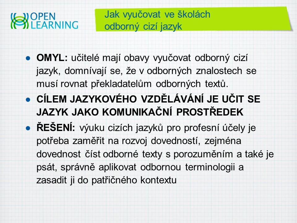 Jak vyučovat ve školách odborný cizí jazyk ●OMYL: učitelé mají obavy vyučovat odborný cizí jazyk, domnívají se, že v odborných znalostech se musí rovnat překladatelům odborných textů.