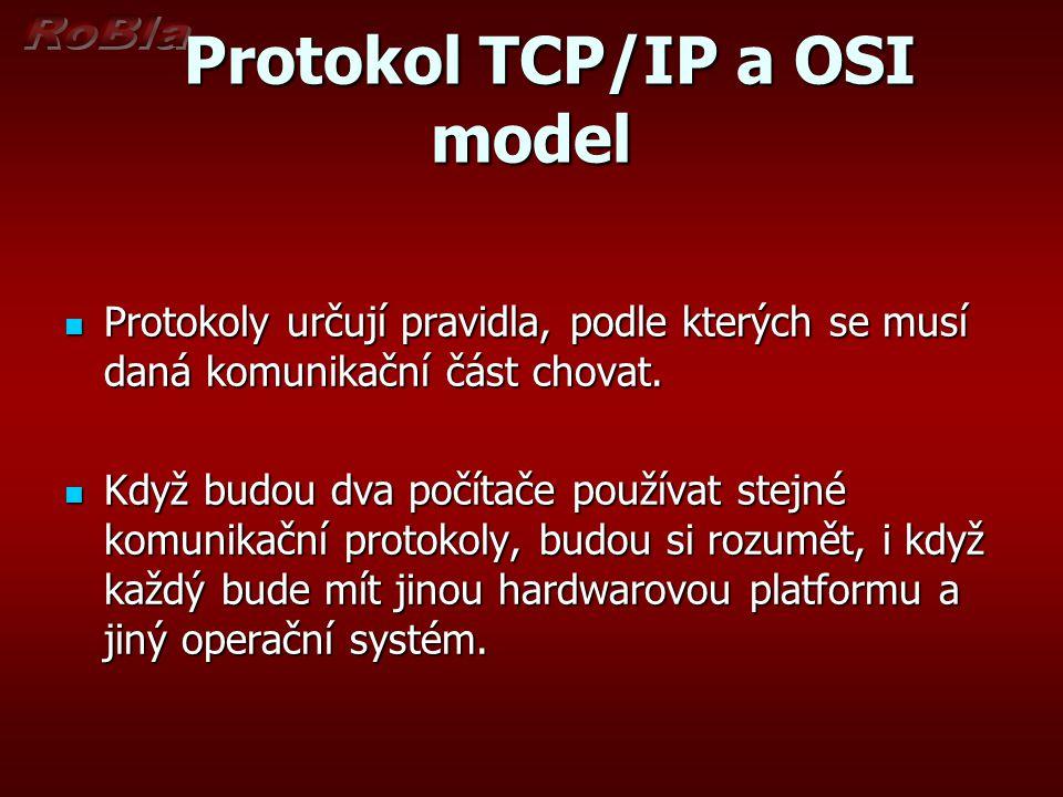 Protokol TCP/IP a OSI model Protokol TCP/IP a OSI model Protokoly určují pravidla, podle kterých se musí daná komunikační část chovat. Protokoly určuj
