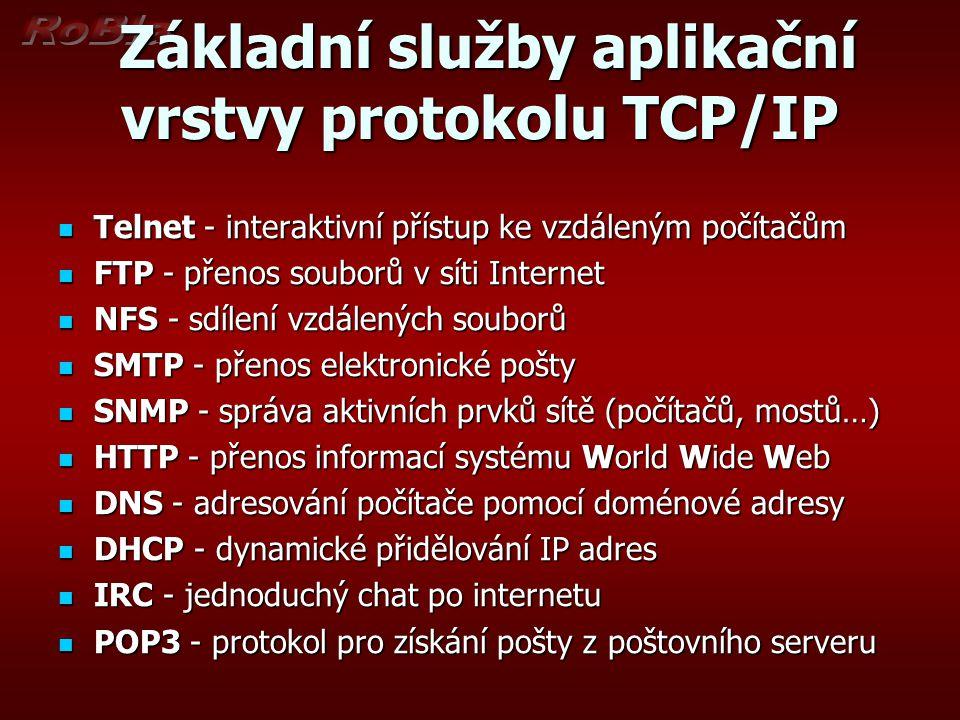 Základní služby aplikační vrstvy protokolu TCP/IP Základní služby aplikační vrstvy protokolu TCP/IP Telnet - interaktivní přístup ke vzdáleným počítač