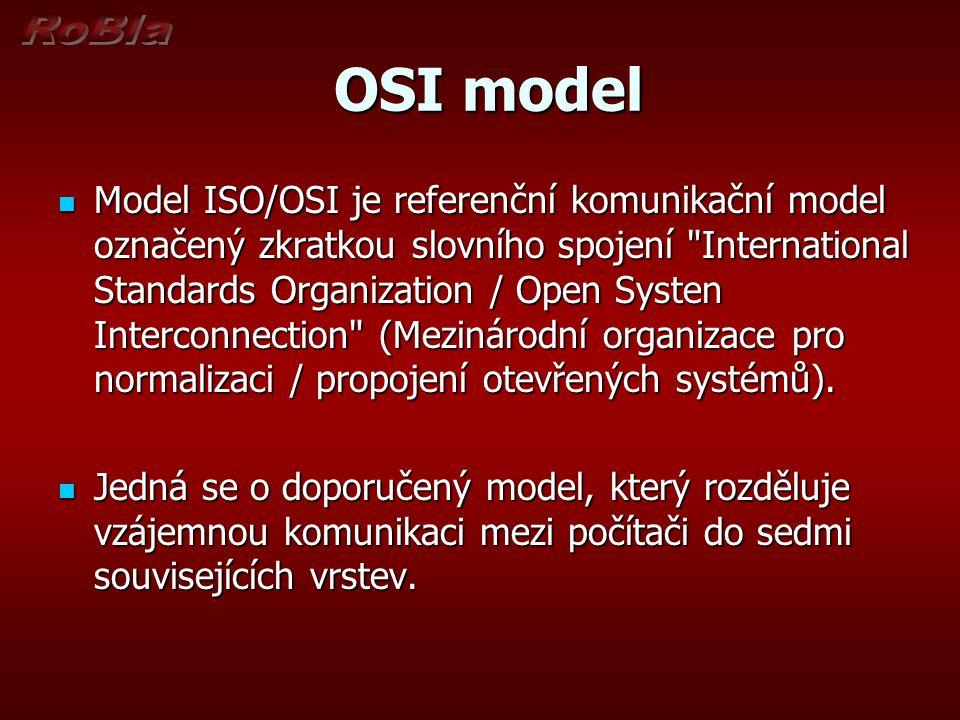 OSI model OSI model Úkolem každé vrstvy je Úkolem každé vrstvy je poskytovat služby vyšší vrstvě.