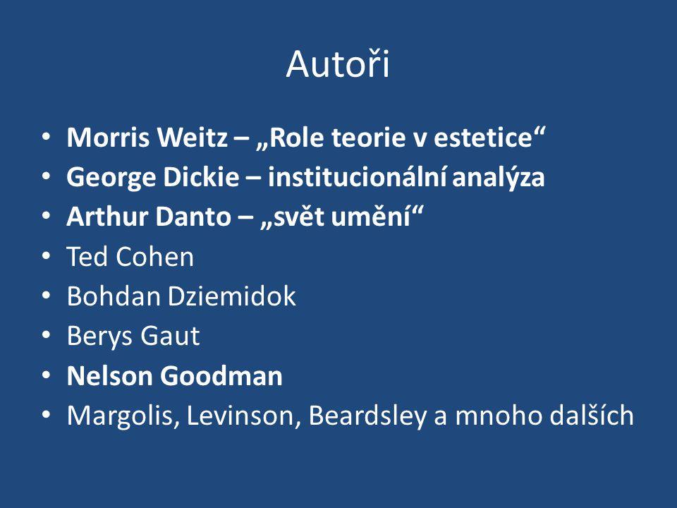 """Autoři Morris Weitz – """"Role teorie v estetice George Dickie – institucionální analýza Arthur Danto – """"svět umění Ted Cohen Bohdan Dziemidok Berys Gaut Nelson Goodman Margolis, Levinson, Beardsley a mnoho dalších"""