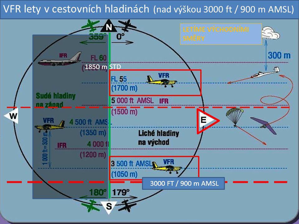 3000 FT / 900 m AMSL LETÍME VÝCHODNÍMI SMĚRY VFR lety v cestovních hladinách (nad výškou 3000 ft / 900 m AMSL) 1850 m STD