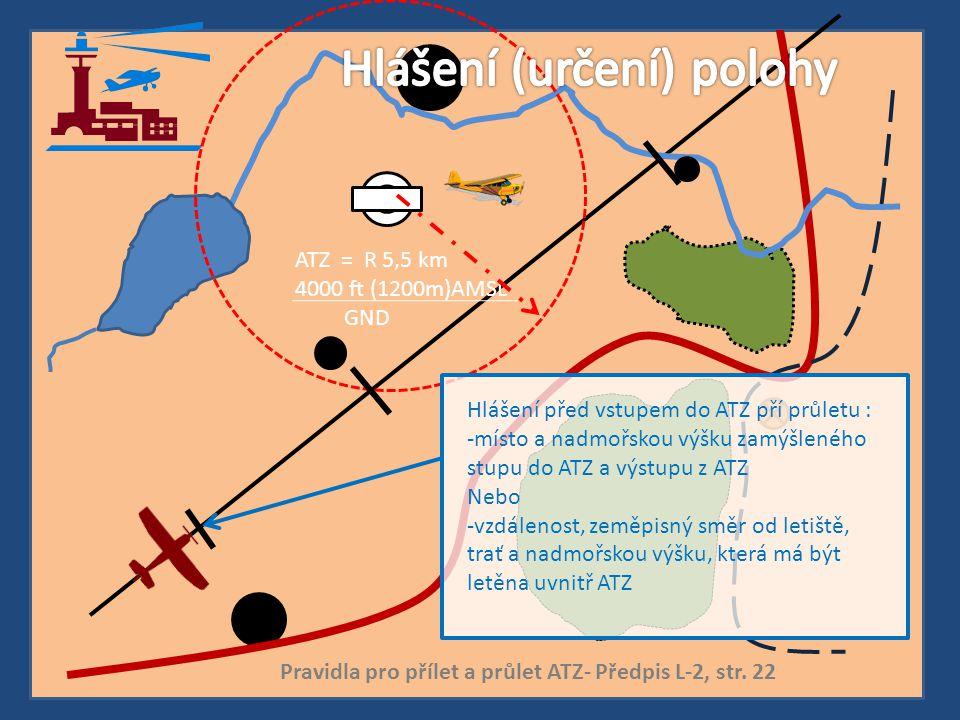 ATZ = R 5,5 km 4000 ft (1200m)AMSL GND Hlášení před vstupem do ATZ pří průletu : -místo a nadmořskou výšku zamýšleného stupu do ATZ a výstupu z ATZ Ne