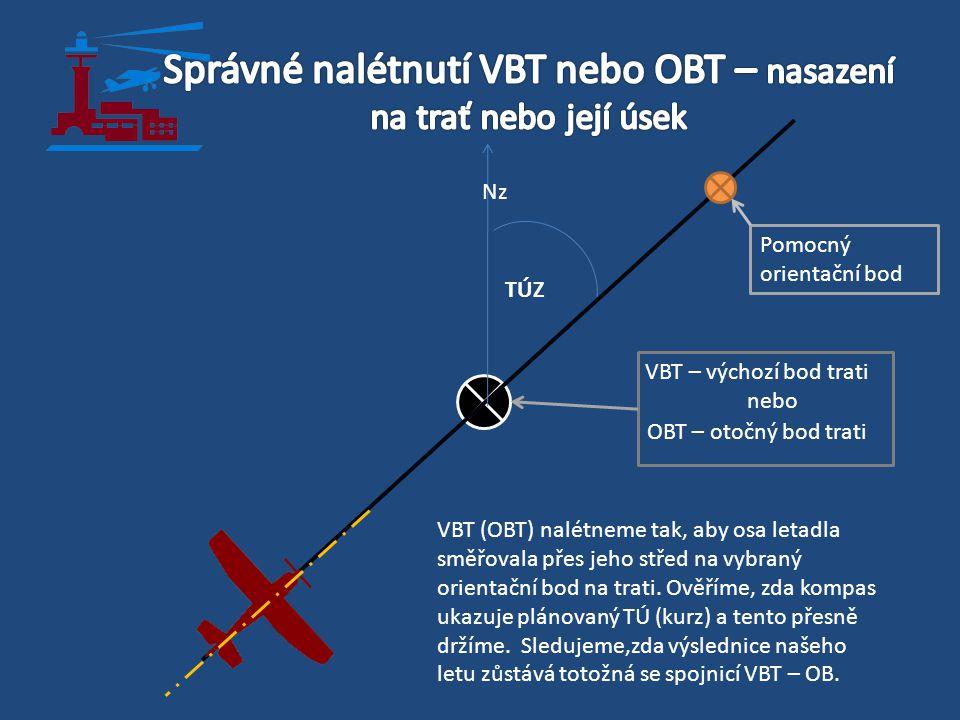 VBT – výchozí bod trati nebo OBT – otočný bod trati TÚZ Pomocný orientační bod Nz VBT (OBT) nalétneme tak, aby osa letadla směřovala přes jeho střed n