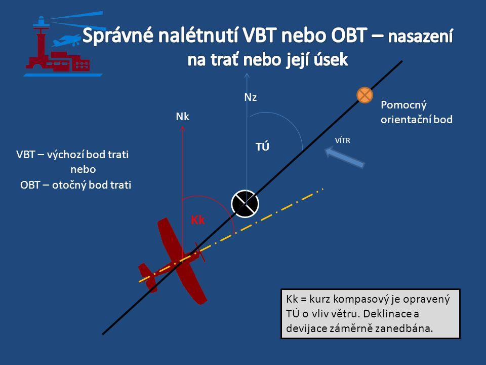 VBT – výchozí bod trati nebo OBT – otočný bod trati TÚ Kk VÍTR Pomocný orientační bod Kk = kurz kompasový je opravený TÚ o vliv větru. Deklinace a dev
