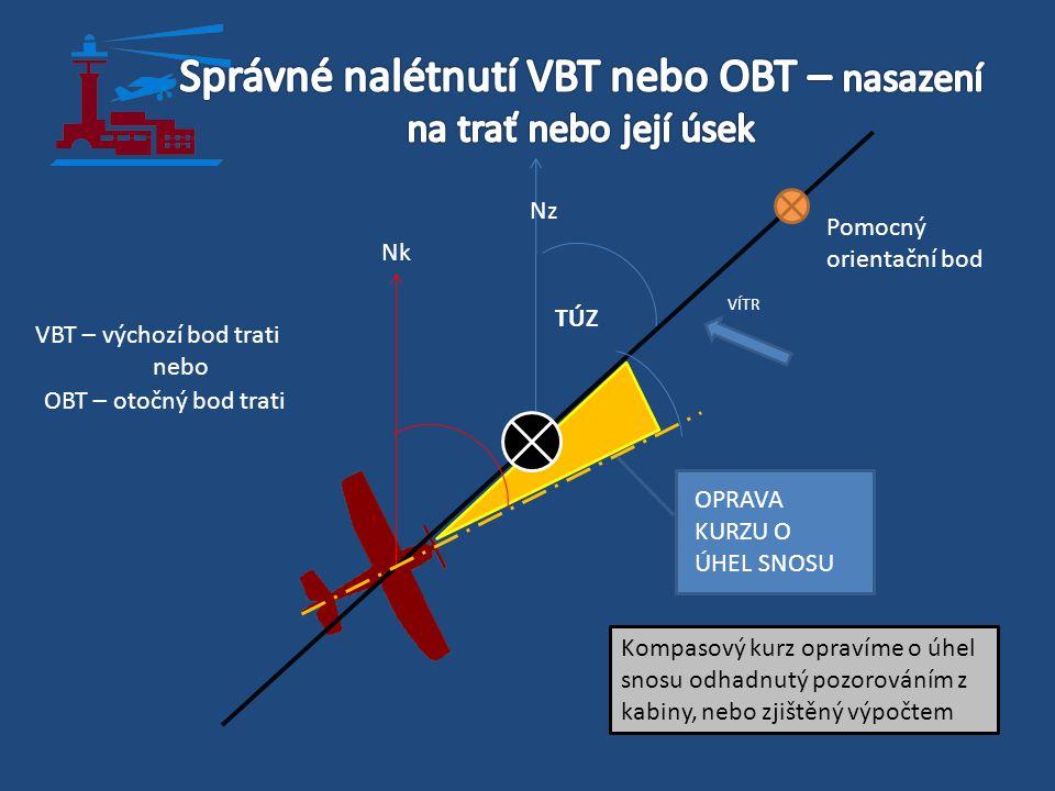 VBT – výchozí bod trati nebo OBT – otočný bod trati TÚZ VÍTR Pomocný orientační bod Kompasový kurz opravíme o úhel snosu odhadnutý pozorováním z kabin