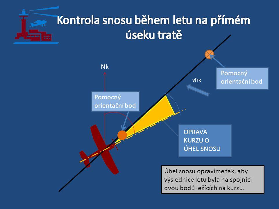 VÍTR Pomocný orientační bod Úhel snosu opravíme tak, aby výslednice letu byla na spojnici dvou bodů ležících na kurzu. Nk OPRAVA KURZU O ÚHEL SNOSU Po