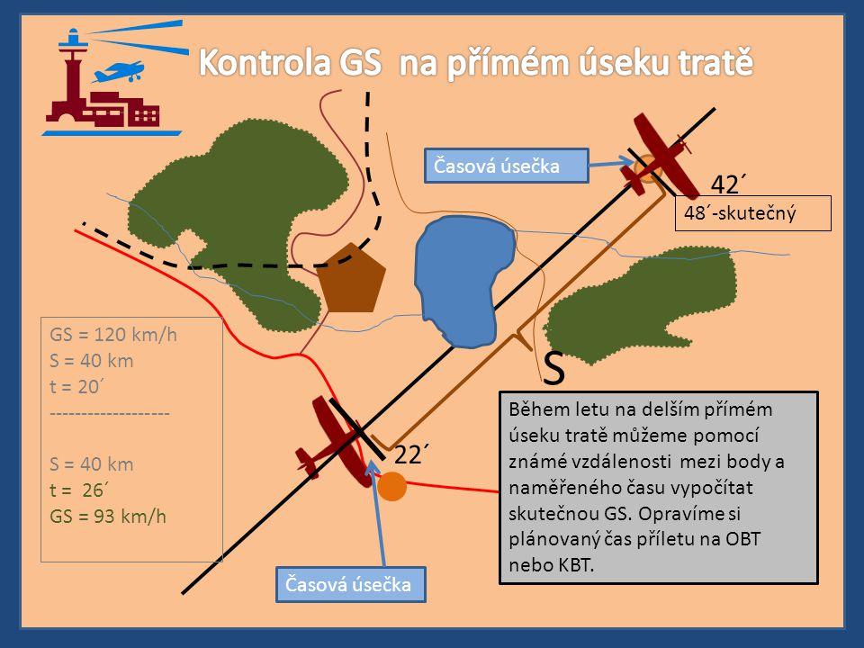 Během letu na delším přímém úseku tratě můžeme pomocí známé vzdálenosti mezi body a naměřeného času vypočítat skutečnou GS. Opravíme si plánovaný čas