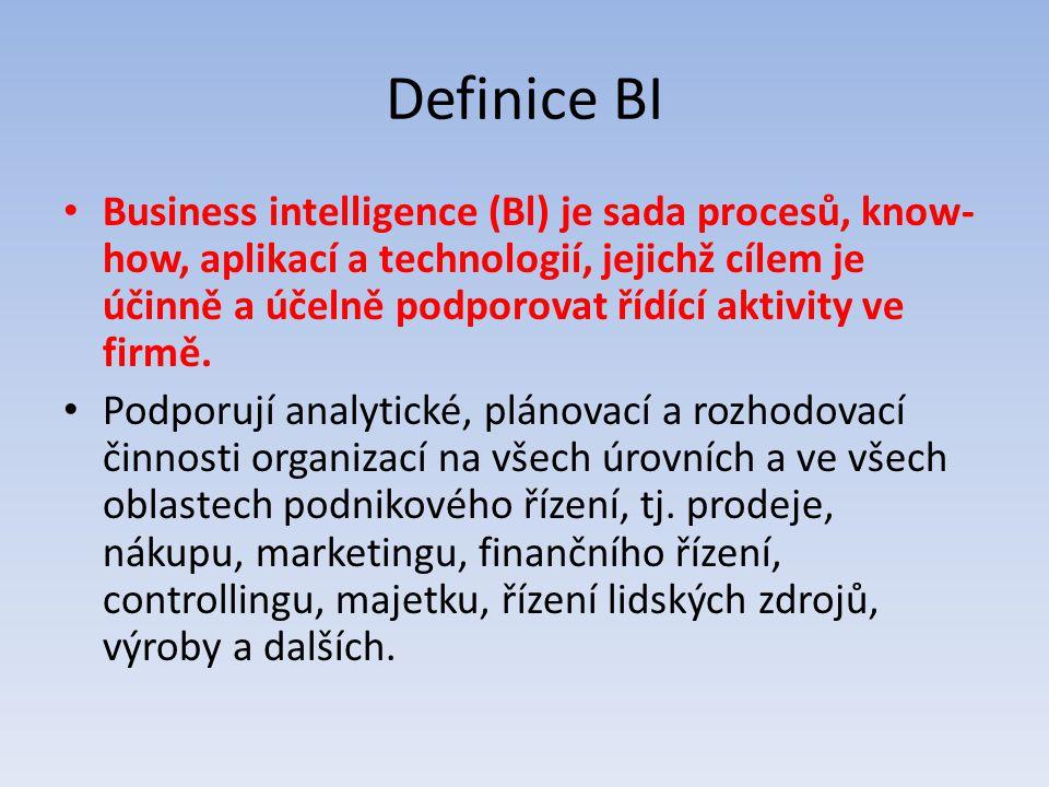 Definice BI Business intelligence (Bl) je sada procesů, know- how, aplikací a technologií, jejichž cílem je účinně a účelně podporovat řídící aktivity