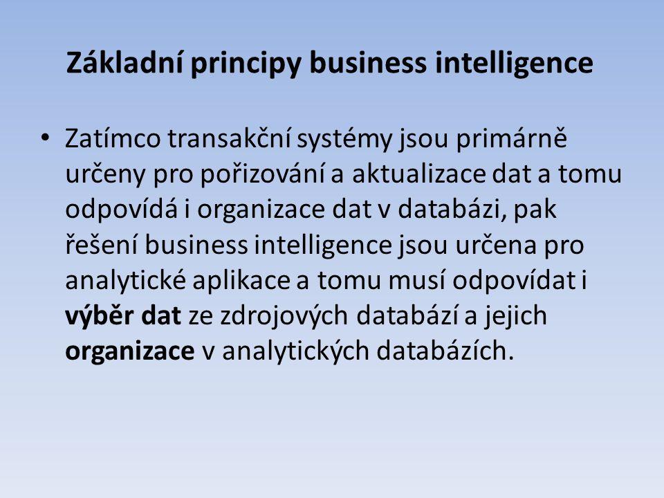 Základní principy business intelligence Zatímco transakční systémy jsou primárně určeny pro pořizování a aktualizace dat a tomu odpovídá i organizace