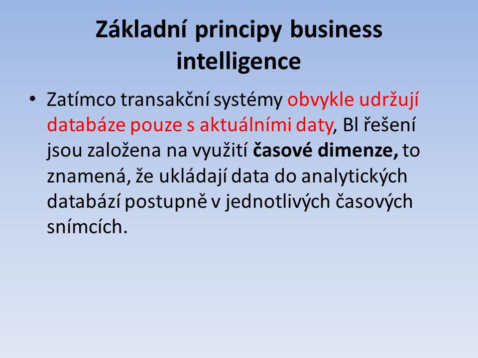 Základní principy business intelligence Zatímco transakční systémy obvykle udržují databáze pouze s aktuálními daty, Bl řešení jsou založena na využit