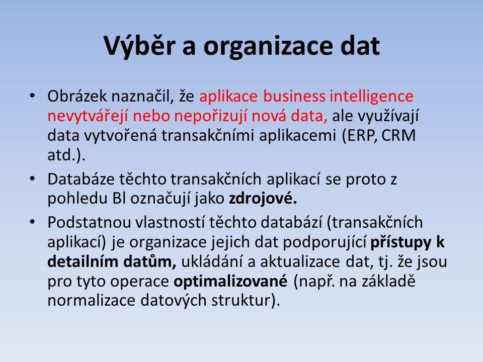 Výběr a organizace dat Obrázek naznačil, že aplikace business intelligence nevytvářejí nebo nepořizují nová data, ale využívají data vytvořená transak