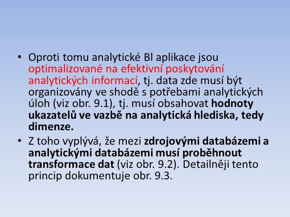 Oproti tomu analytické Bl aplikace jsou optimalizované na efektivní poskytování analytických informací, tj. data zde musí být organizovány ve shodě s