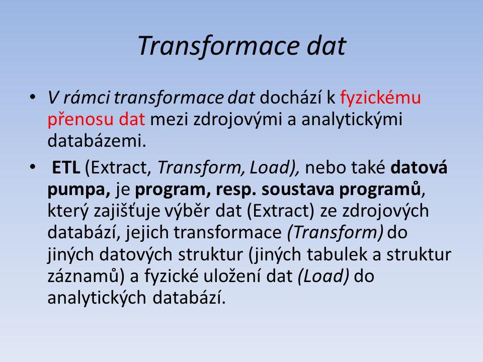 V rámci transformace dat dochází k fyzickému přenosu dat mezi zdrojovými a analytickými databázemi. ETL (Extract, Transform, Load), nebo také datová p