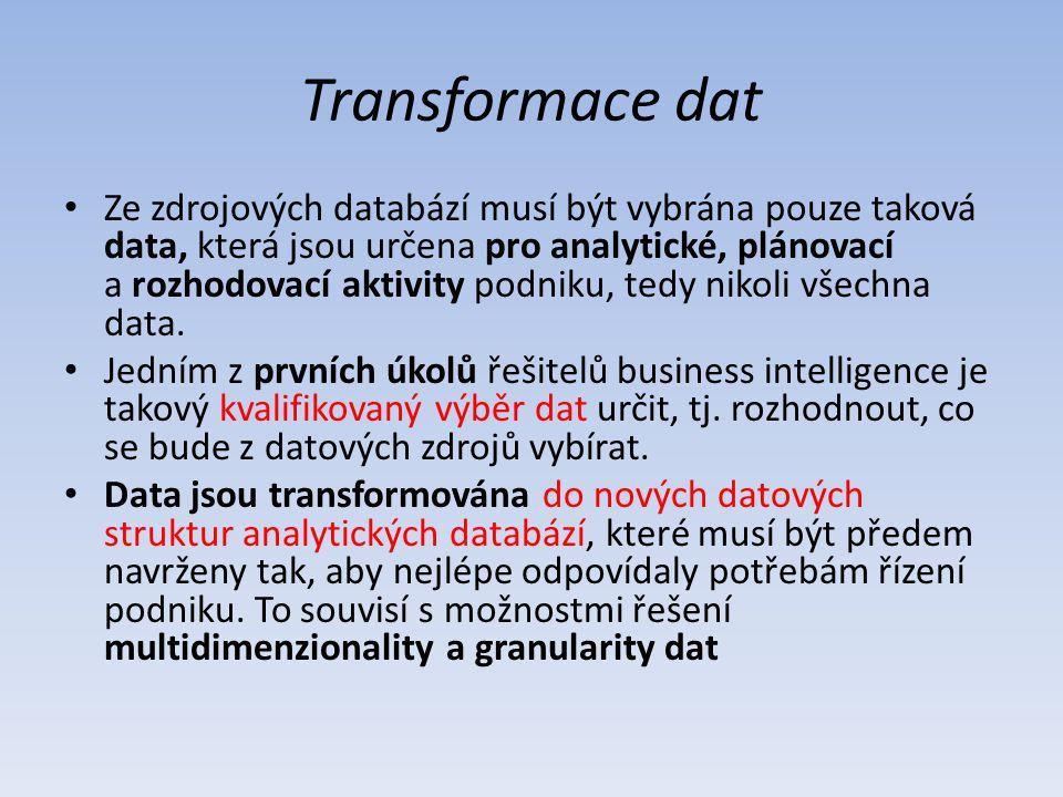 Transformace dat Ze zdrojových databází musí být vybrána pouze taková data, která jsou určena pro analytické, plánovací a rozhodovací aktivity podniku