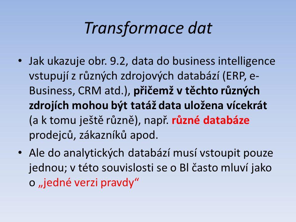 Transformace dat Jak ukazuje obr. 9.2, data do business intelligence vstupují z různých zdrojových databází (ERP, e- Business, CRM atd.), přičemž v tě