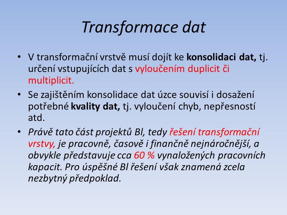 Transformace dat V transformační vrstvě musí dojít ke konsolidaci dat, tj. určení vstupujících dat s vyloučením duplicit či multiplicit. Se zajištěním