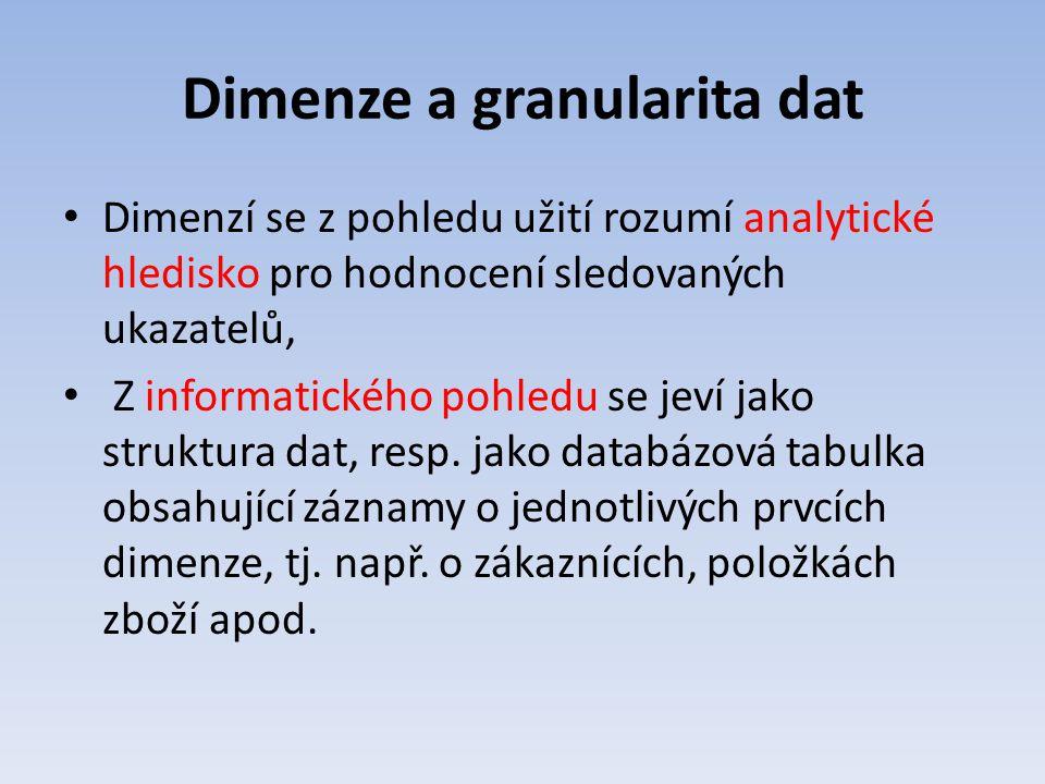 Dimenze a granularita dat Dimenzí se z pohledu užití rozumí analytické hledisko pro hodnocení sledovaných ukazatelů, Z informatického pohledu se jeví