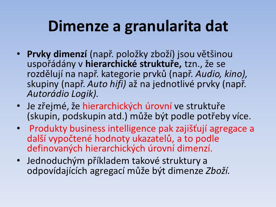 Dimenze a granularita dat Prvky dimenzí (např. položky zboží) jsou většinou uspořádány v hierarchické struktuře, tzn., že se rozdělují na např. katego