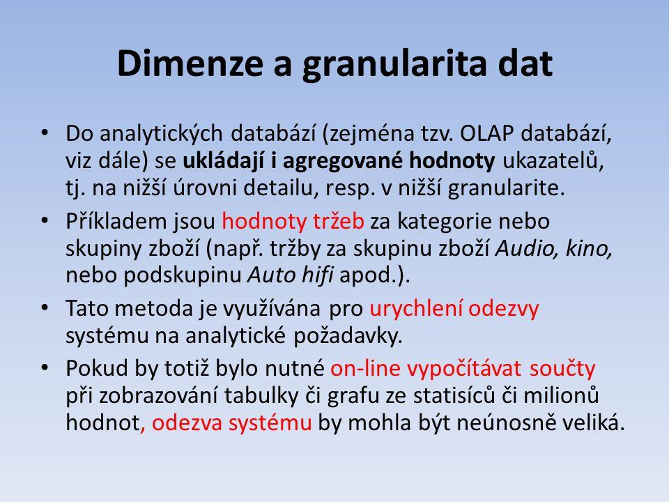 Dimenze a granularita dat Do analytických databází (zejména tzv. OLAP databází, viz dále) se ukládají i agregované hodnoty ukazatelů, tj. na nižší úro