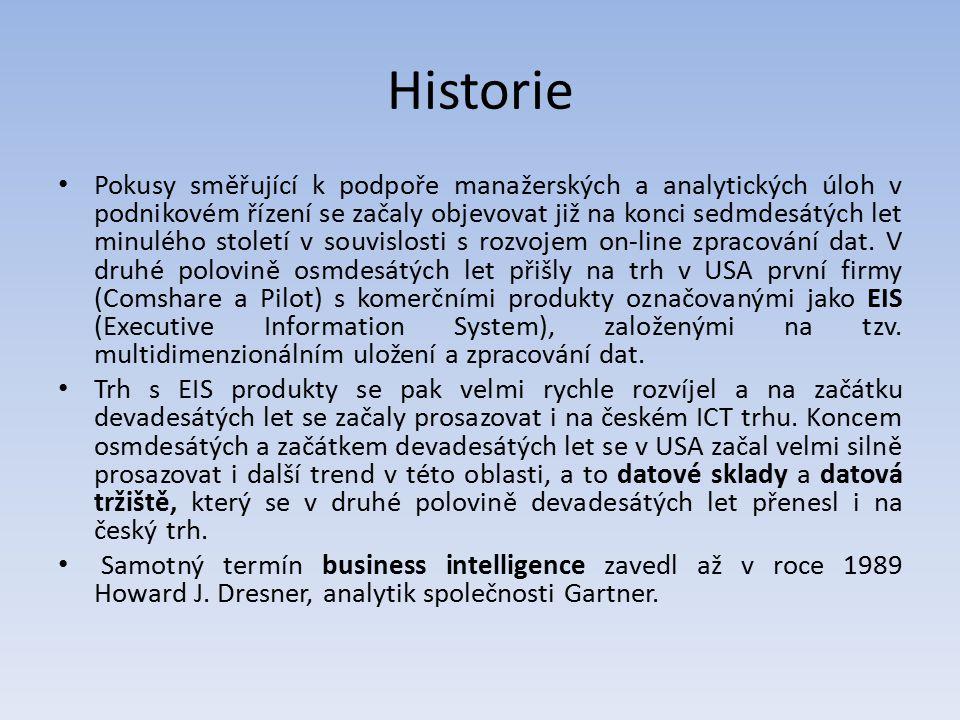 Historie Pokusy směřující k podpoře manažerských a analytických úloh v podnikovém řízení se začaly objevovat již na konci sedmdesátých let minulého st