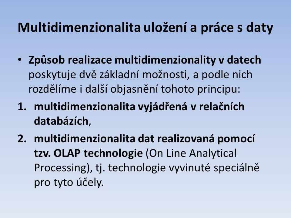 Multidimenzionalita uložení a práce s daty Způsob realizace multidimenzionality v datech poskytuje dvě základní možnosti, a podle nich rozdělíme i dal