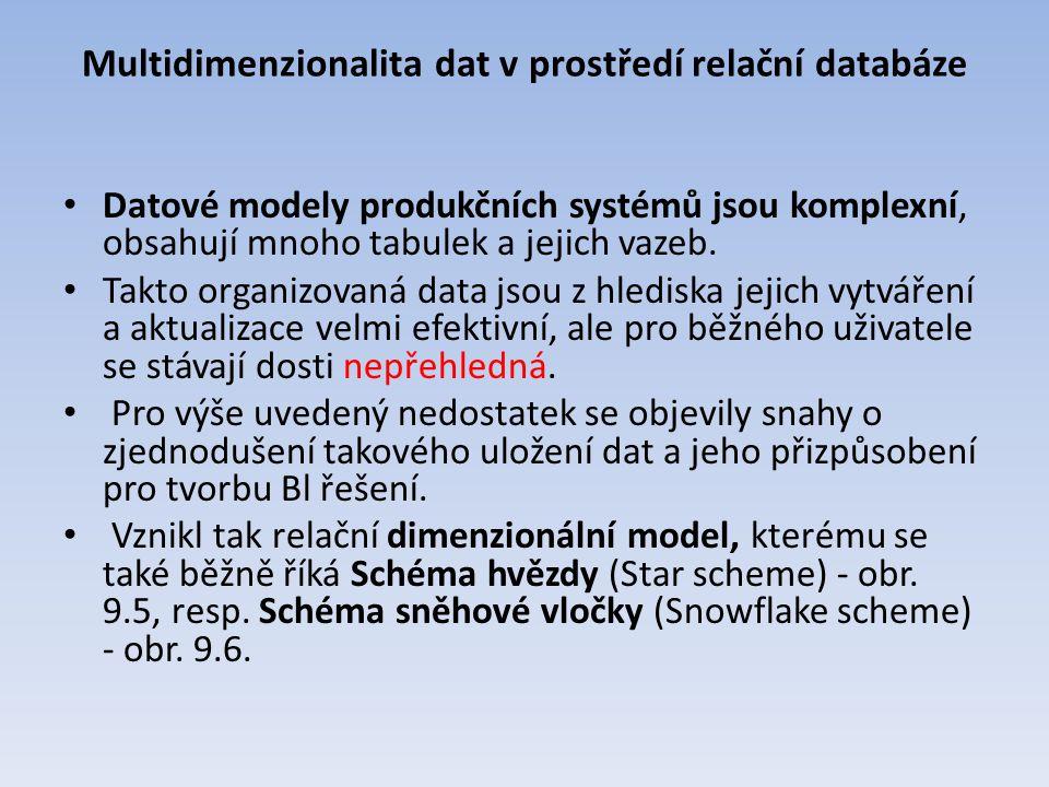 Multidimenzionalita dat v prostředí relační databáze Datové modely produkčních systémů jsou komplexní, obsahují mnoho tabulek a jejich vazeb. Takto or
