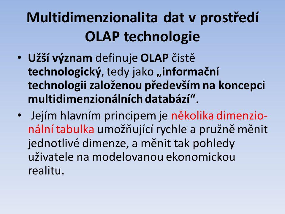 """Multidimenzionalita dat v prostředí OLAP technologie Užší význam definuje OLAP čistě technologický, tedy jako """"informační technologii založenou předev"""