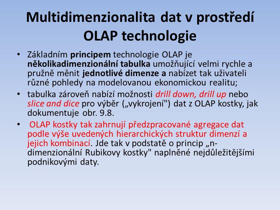 Multidimenzionalita dat v prostředí OLAP technologie Základním principem technologie OLAP je několikadimenzionální tabulka umožňující velmi rychle a p