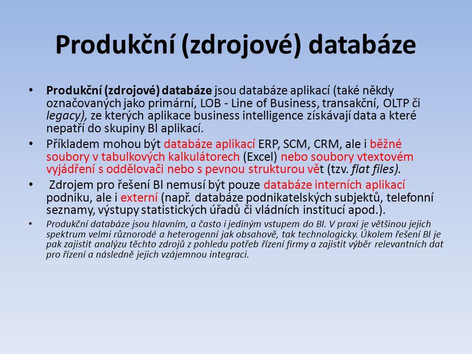 Produkční (zdrojové) databáze Produkční (zdrojové) databáze jsou databáze aplikací (také někdy označovaných jako primární, LOB - Line of Business, tra