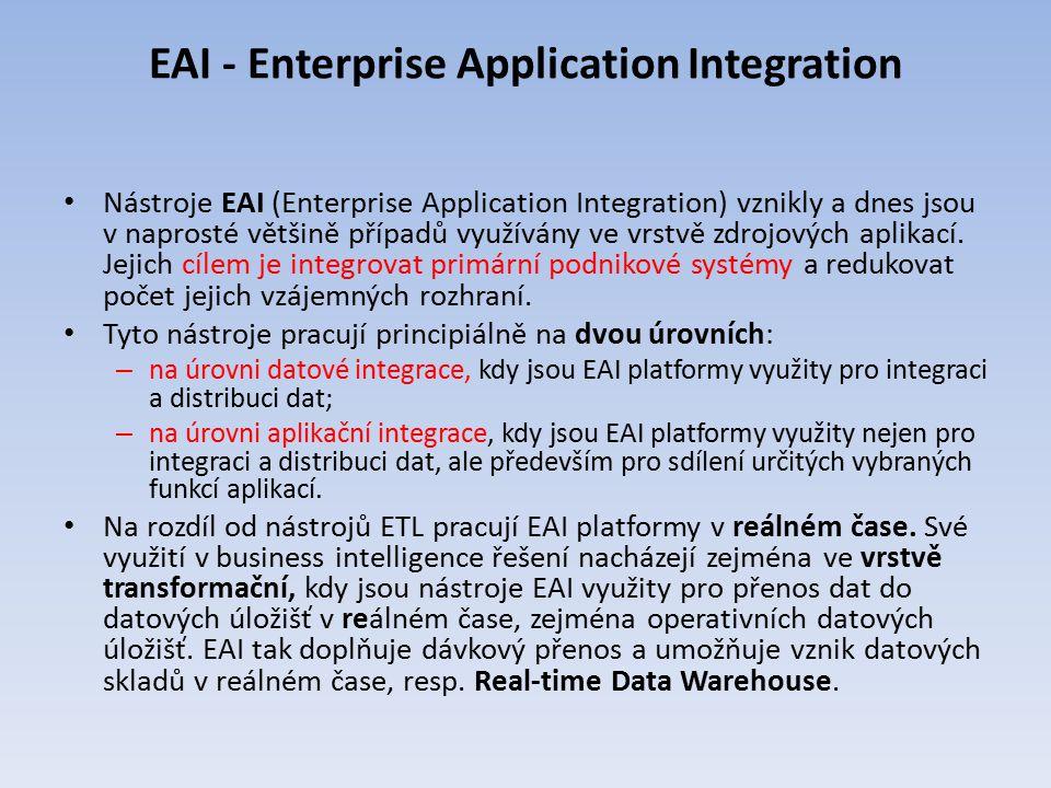 EAI - Enterprise Application Integration Nástroje EAI (Enterprise Application Integration) vznikly a dnes jsou v naprosté většině případů využívány ve