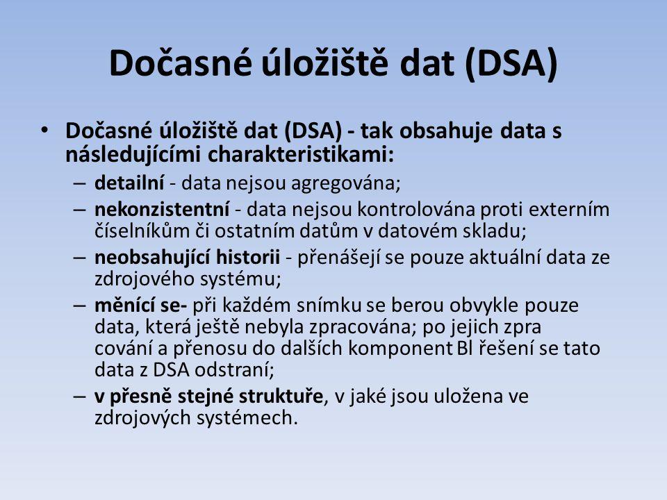 Dočasné úložiště dat (DSA) Dočasné úložiště dat (DSA) - tak obsahuje data s následujícími charakteristikami: – detailní - data nejsou agregována; – ne