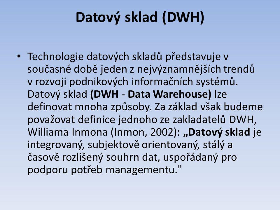 Datový sklad (DWH) Technologie datových skladů představuje v současné době jeden z nejvýznamnějších trendů v rozvoji podnikových informačních systémů