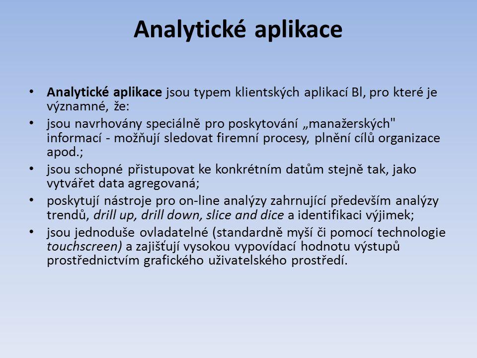 """Analytické aplikace Analytické aplikace jsou typem klientských aplikací Bl, pro které je významné, že: jsou navrhovány speciálně pro poskytování """"mana"""