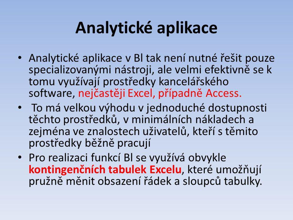 Analytické aplikace Analytické aplikace v Bl tak není nutné řešit pouze specializovanými nástroji, ale velmi efektivně se k tomu využívají prostředky