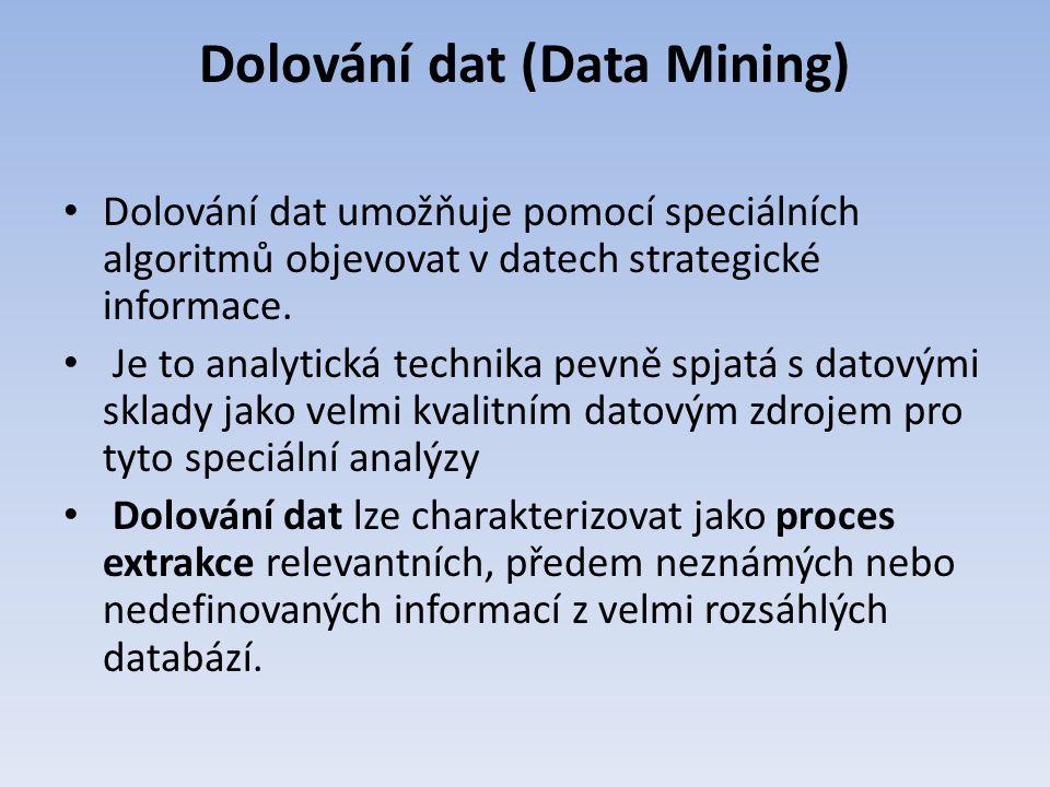 Dolování dat (Data Mining) Dolování dat umožňuje pomocí speciálních algoritmů objevovat v datech strategické informace. Je to analytická technika pevn