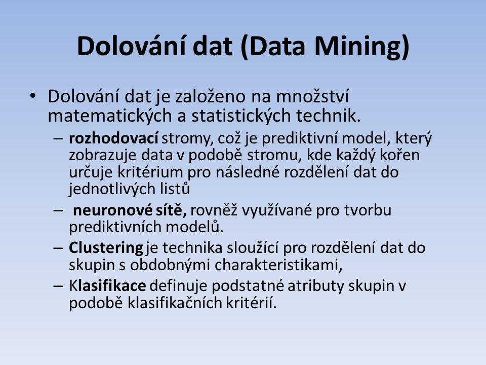 Dolování dat (Data Mining) Dolování dat je založeno na množství matematických a statistických technik. – rozhodovací stromy, což je prediktivní model,